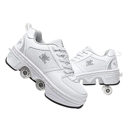 AGLOAT Rollschuhe Schuhe mit Rollen für Mädchen, Deformation Rollerskates, 2...