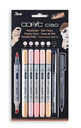 COPIC Ciao Marker 5+1 Set 'Porträtfarben', 5 alkoholbasierte Allround-Layoutmarker mit einer mittelbreiten und einer Brush-Spitze, inkl. 1 Multiliner 0,3 mm