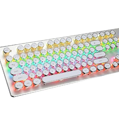 Guanweun QuQiaoUK Teclado mecánico para juegos con retroiluminación RGB real plegable reposamuñecas 104 teclas, interruptor azul, tapa redonda retro para PC portátil computadora de escritorio