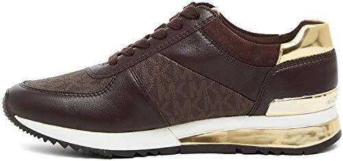 Michael Michael Kors Allie Wrap Leather Trainers Brown/Black Brown 8.5 US