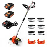 PAXCESS 20V 12-Inch Cordless String Trimmer/Lawn Edger, Weed Eater, 2 PCS 2.0Ah Battery and One Charger Weed Wacker, 6 PCS Spool Line & 2 Cap Included, Length Adjustable, Lightweight