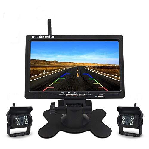 Drahtlose Auto Backup Kamera und Monitor Kit 7 Zoll HD TFT LCD Rear View Monitor und IP68 wasserdichte Kamera mit Nachtsicht Wireless Rückfahrkamera für Auto Bus LKW Schulbus Anhänger