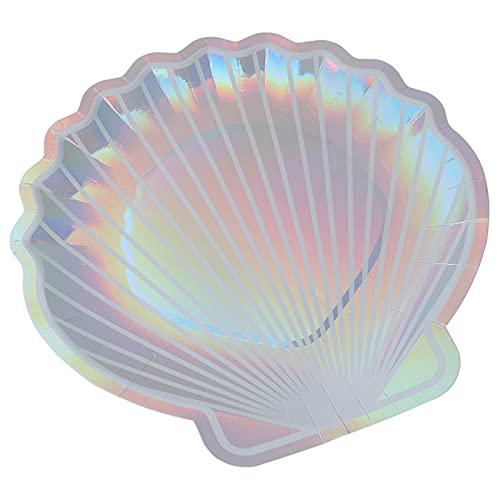 Lsdnlx Fruteras,8 Piezas de vajilla de Plato de Fiesta con Platos de Papel de Concha Brillante;Festival de Cuento de Hadas de Sirena para Boda de Baby Shower