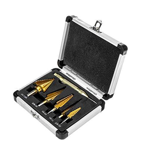 L-YINGZON Drill 6Pcs Titanium Drill Bit Set Steel Step Drill Bits Cone Multiple Hole 50 Sizes Drill Bits