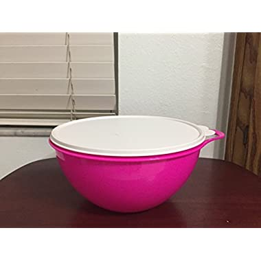 Tupperware 19 Cup Thatsa Medium Bowl in Electric Hot Pink with Snow White Seal
