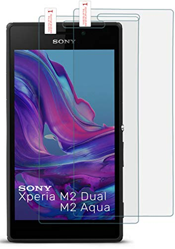 moex HD Panzerglasfolie kompatibel mit Sony Xperia M2 | Panzerglas Kratzfest + fast unsichtbar 9H Glas Schutzfolie, Kristall Klar 2x Stück