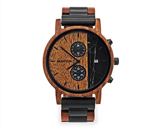 Branvon Holzuhr Herren Holzuhr Loraan - Analog Quarz Uhr mit Chronographen und Datumsanzeige - Saphirglas - Armbanduhr für Herren aus Sandelholz - Gliederarmband zum kürzen oder verlängern