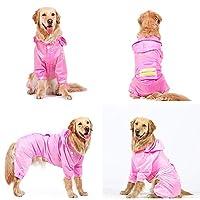 ペットレインコート ビッグドッグレインコート黄金の髪防水ポンチョラブラドール中大犬ペットオールインクルーシブの服四本足のレインコート 防水性と防風性のあるペット用レインコート (色 : Pink, Size : 6XL)