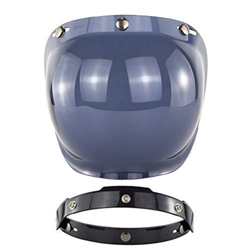 Breale Vintage Motorrad Open Face Helm Visier UV Schutz Scooter Helm Bubble Visier drei Snap auf Schild Winddichte Objektiv für Motorradhelme Zubehör