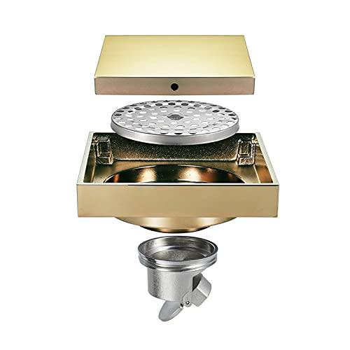 Desagüe de Ducha de 4 Pulgadas Desagüe de Piso de latón Cuadrado Invisible Desagüe de Piso de Ducha con Rejilla de Cubierta extraíble Desagüe de desagüe de Ducha de baño, Champagne Gold