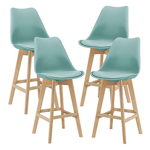 Set di 4 Sgabelli da Bar 4 Sedie Alta con Gambe di Legno Massello di Faggio con Poggiapiedi Seduta Imbottita Cucina/Bar/Ristorante - Menta Verde
