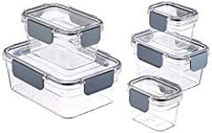 10-piece set of (5) clear plastic food storage containers with (5) locking lids Set includes (2) 0.5-cup containers with lids, (2) 1.69-cup containers with lids, and (1) 4.2-cup container with lid Ideal for storing leftovers, dry goods, fresh ingredi...