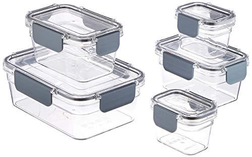 10 pezzi di (5) contenitori in plastica trasparente per alimenti con (5) coperchi con chiusura Il set include (2) contenitori da 120 ml con coperchio, (2) contenitori da 400 ml con coperchio e (1) contenitore da 1 L con coperchio Ideali per conservar...