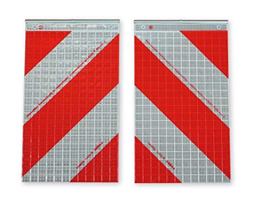 ORALITE Warnflaggen-Set für LKW-Hubladebühnen rot-weiß von Orafol - rechtsweisend, linksweisend - gemäß § 53b StVZO - Halterung optional (mit Halterung)
