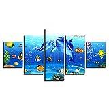 LWJPD Cuadro en Lienzo 5 Partes Arte De La Pared Cuadro De La Lona Mundo Submarino Impresiones De La Pintura Delfín Coral Reef Peces Cartel Pintura Sin Marco 60 Inch