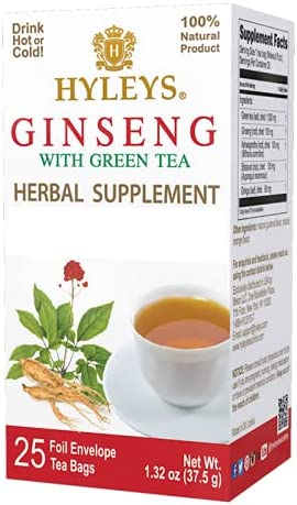 Hyleys Ginseng Root with Green Time sale Tea Excellent - 25 Pack 1 Bags