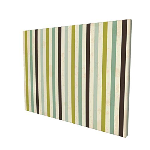 """Hat&C Retro Vintage Toned Polka Dots and Vertical Bands Abstract Display Mint Olive Green Seal Brown Creampainting 12"""" X 16"""" Panoramic Canvas Wall Art"""