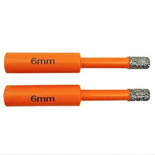 Brocas Para 2pcs DIA 6mm Bits de núcleo de diamante soldado soldado con vástago redondo Bits de perforación seca
