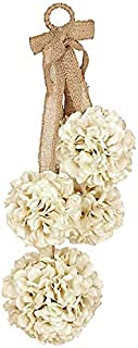 Ka Home 23 Inch Cream Hydrangea Hanging Door Decor   Burlap Hanger Included to Decorate a Covered Front Door or an Indoor Decoration to Accent Any Room