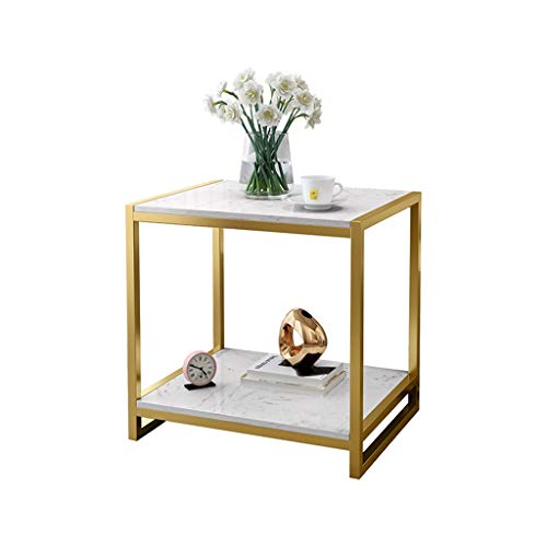 Coffee Table 2 Layer Side Table Rectangle Marble Coffee Table End Table Metal Nightstand Sofa Side Snack Table, Bedside Tables Accent Table for Coffee Sofa Living Room Bedroom