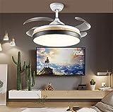 WWLONG Ventilador de Techo 42 Pulgadas / 107 cm Ventilador Ligero Capa Intermedia Ventilador Invisible luz Dormitorio salón Comedor LED Ventilador Ventilador de Techo-Black
