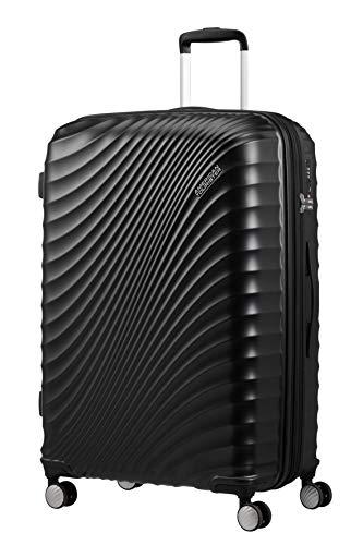 American Tourister Jetglam Spinner L Expandible Maleta, 77 cm, 109 L, Negro (Metallic Black)