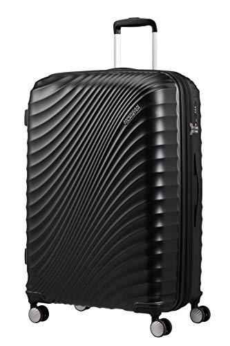 American Tourister Jetglam, Spinner L Expandable Suitcase, 77 cm, 109 Litre, Black (Metallic Black)