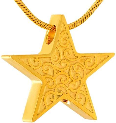 TYBM Collar De Cenizas Estrella Conmemorativa Cenizas Cremadas De Seres Queridos O Recuerdo Collar Colgante De Acero Inoxidable Collar De Cilindro Conmemorativo-Ilv_Tone - 1