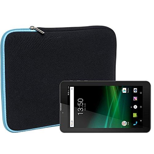 Slabo Tablet Tasche Schutzhülle für TrekStor SurfTab Breeze 7.0 Quad Hülle Etui Hülle Phablet aus Neopren – TÜRKIS/SCHWARZ