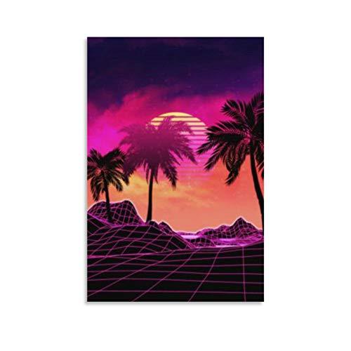 Leinwand-Kunst-Poster und Wandkunstdruck, Motiv: Vaporwave, 40 x 60 cm, Pink