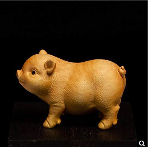 Buchsbaumholz, das kreative Handwerke des glücklichen Glücksschweins wenwan spielt Griff niedliche Tierkreisschweinkleintierdekoration schnitzt