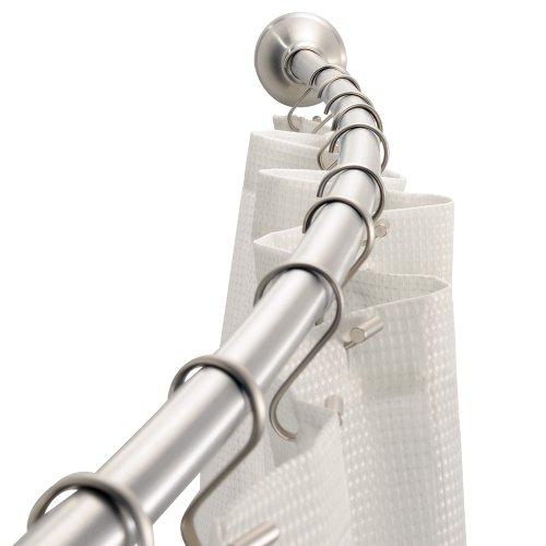 iDesign Gebogene Duschvorhang-Spannstange, Edelstahl Gebürstet, Acero Inoxidable Cepillado, 183 x 5 cm