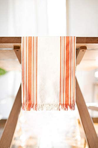 Tusolis 100 Cotton Table Runner with Fringe Ends Farmhouse Style Coral Stripes on Natural Made product image