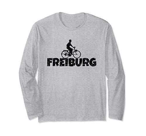 Freiburg Fahrrad (Vintage Schwarz) Fahrradfahrer Langarmshirt