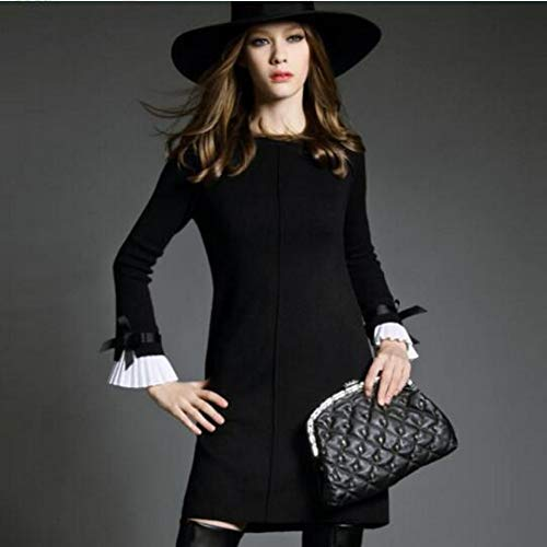 Wujiaba Winter-Wollkleid Strickkleid Damen Langes Pulloverkleid Große Größe Minikleid, Schwarz, Einheitsgröße