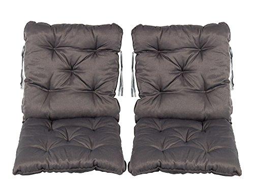 Meerweh Stuhlkissen mit Rückenteil Sitz und Rückenkissen mit Bänder 50x98 cm Polsterauflage Gartenstuhl grau 2er Set