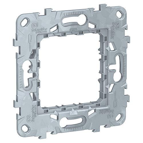 Schneider Electric NU7002 New Unica, Bastidor Universal Zamak de Empotrar, 2 Módulos, Fijación de Marco de Interruptor - Blanco
