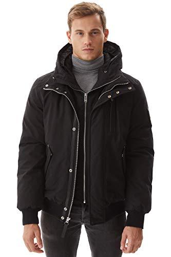Molemsx Men Down Parka Jacket, Mens Parka Outdoor Windproof Waterproof Ski Jacket Winter Coats Fashion Hooded Classic Down Flight Puffe Jacket Winter Warm Outwear for Cold Weather Black Medium