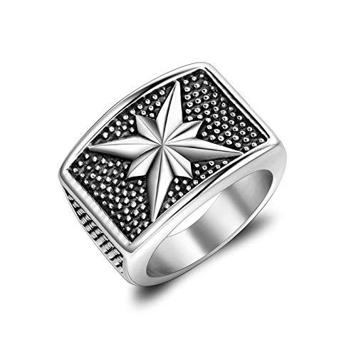 Bishilin Titan Ring Herren Blume Rechteck Partnerring Vintage Ring Silber Größe 57 (18.1)