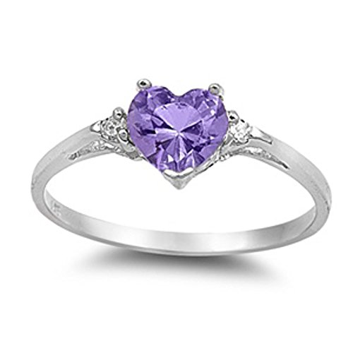 Oxford Diamond Co Simulated Amethyst Heart & White Cubic Zirconia Ring Size 10