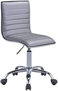 WarmAround Office Chair in Silver PU & Chrome D747-02,Silver