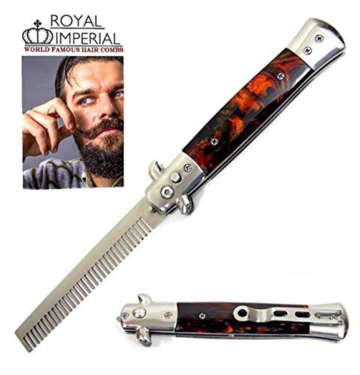 Royal Imperial Metal Switchblade Pocket Folding Flick Hair Comb For Beard, Mustache, Head TORTOISE SHELL FIRE Handle ~ INCLUDES Beard Fact Wallet Book ~ Nicer Than Butterfly Knife Trainer [並行輸入品]
