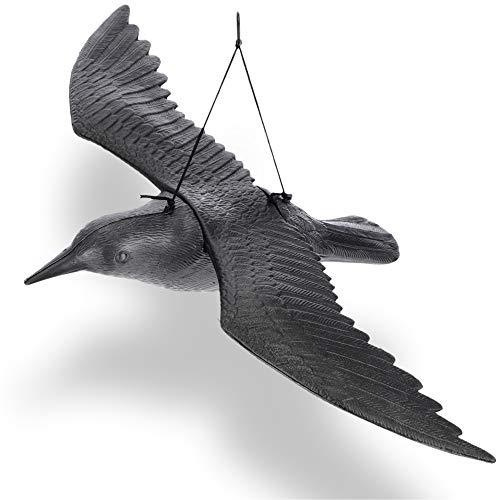 KADAX Dissuasore per uccelli in plastica, guaine volanti, antumorie, spaventapasseri, corvo nero (1 pezzo)