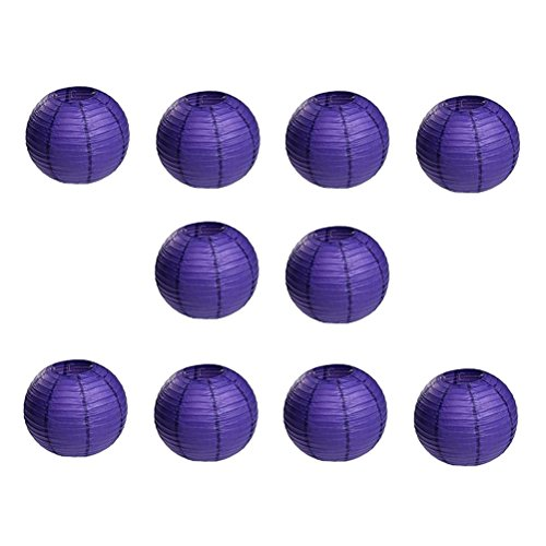 OUNONA 10pcs Lanternes en Papier de No?l Lanternes Rondes avec Nervures en Fil m¨¦Tallique (Violet Fonc¨¦)