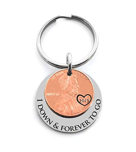 1 Year Anniversary Gift 2019 Penny Good Luck Penny Key Chain Gift For Husband or Wife Wedding Date