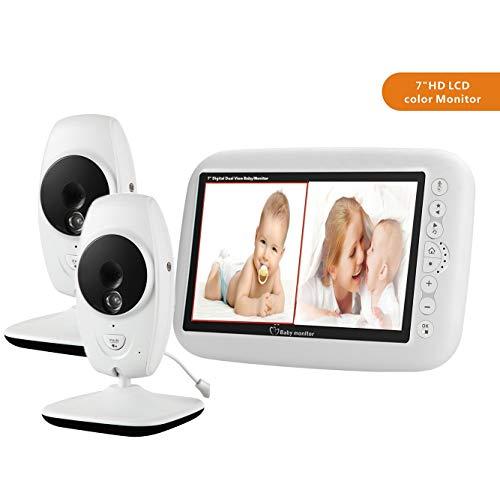 MBEN Video-Babyphone, kabellose Kamera, 7,0-Zoll-LCD-Farbdisplay, Nachtsicht- und Temperatursensor, Gegensprechanlage (2 Kameras)