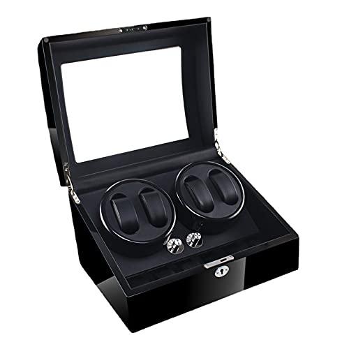 WRNM Cajas Giratorias para Relojes con Reloj 4 Quiet Motor Caja De Enrollamiento Flexible Ver Almohadas De Lujo Almacenamiento De Cuero De Fibra