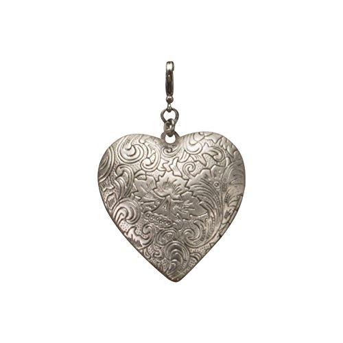 Alpenflüstern Trachten-Anhänger Amulett-Herz fürs Charivari antik-silber-farben AAH056