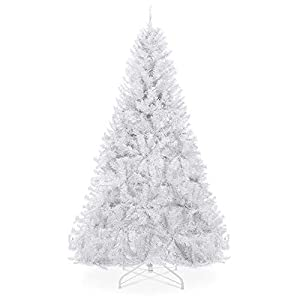 Best Choice Products 6ft Premium Hinged Artificial Holiday Christmas Pine Tree for Home, Office, Party Decoration w/ 1,000 Branch Tips, Easy Assembly, Metal Hinges & Foldable Base – White