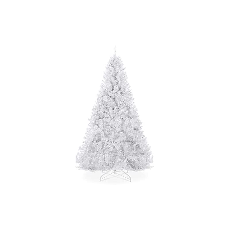 silk flower arrangements best choice products 6ft premium hinged artificial holiday christmas pine tree for home, office, party decoration w/ 1,000 branch tips, easy assembly, metal hinges & foldable base - white